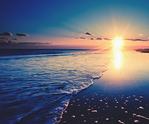 beach, sun, and sunset image