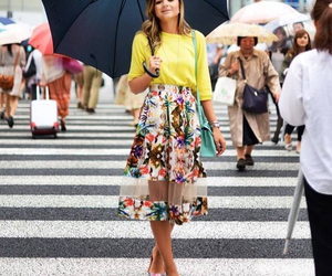 fashion, floral skirt, and heels image