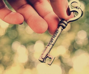 key, heart, and love image