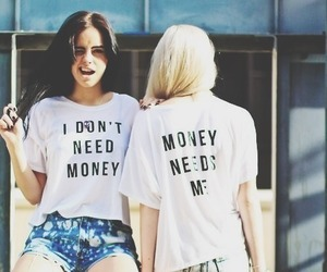 girl, money, and friends image