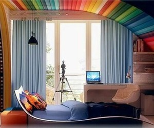 room, bedroom, and rainbow image