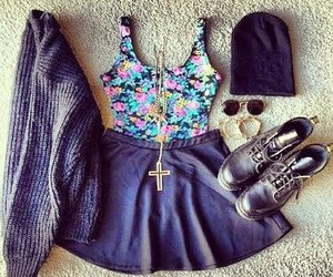 outfit, beautiful, and flowers image