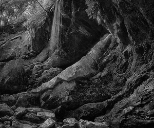 black and white, rocks, and waterfall image