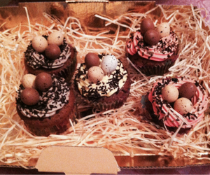 chocolate, cupcakes, and easter image