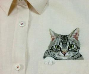 art, cat, and embroidery image