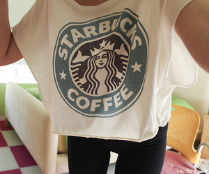 starbucks, shirt, and coffee image