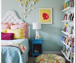 bedroom, books, and decor image