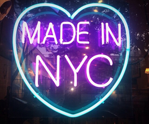 neon, nyc, and light image