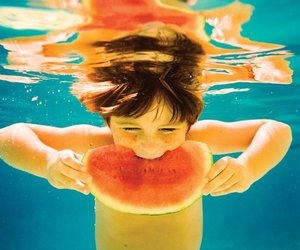 watermelon, boy, and water image