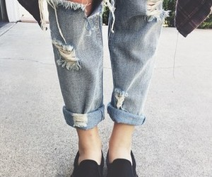 boyfriend jeans, ripped jeans, and fashion image