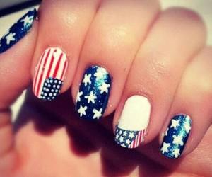 america, flag, and nail art image