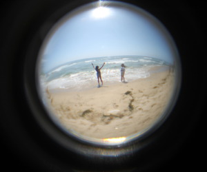 beach, fisheye, and girls image