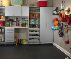interior, concrete floor, and cupboard and cabinets image