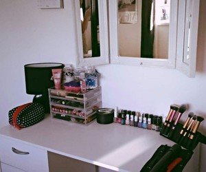 dressing table, makeup, and real technique image