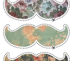 cool, floral, and mustache image