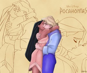 kiss, pocahontas, and love image