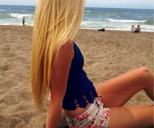 beach, shorts, and blonde image