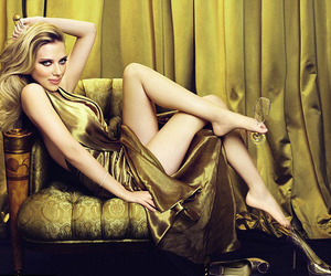 Scarlett Johansson, gold, and sexy image