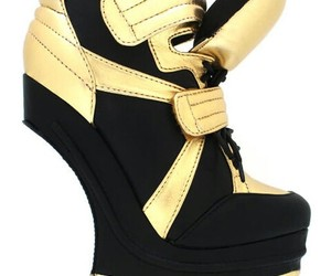 sneaker heels, flyjane, and gold & black image