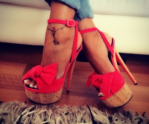 red, shoes, and tattoo image