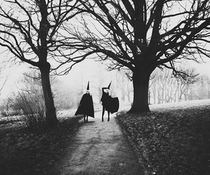 photography, black and white, and witch image