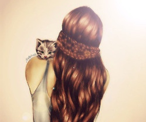 cat, hair, and drawing image