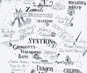 harry potter, hogwarts, and map image