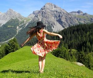 dress, girl, and mountains image