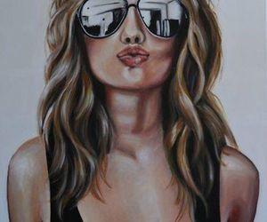 kiss, sunglasses, and draw image