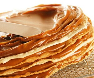 food, caramel, and pancakes image