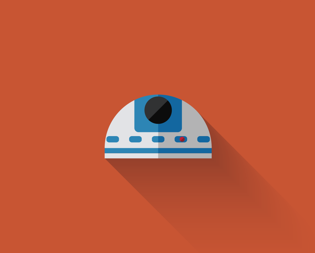 Star Wars Minimalism Flat Long Shadow Design R2d2