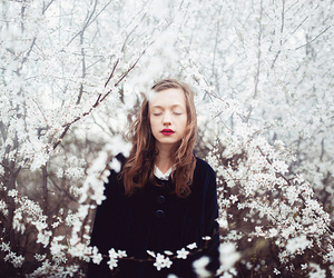 girl, flowers, and white image