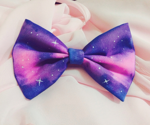 bow, galaxy, and pink image