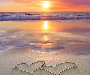 beach, sunset, and hearts image