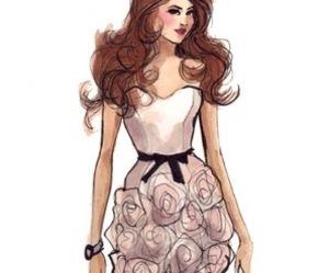 sketch, art, and dress image