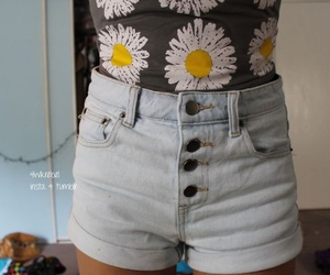 flowers, outfit, and jeans image