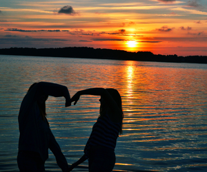 beautiful, sunset, and best friends image
