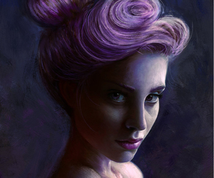 girl, hair, and painting image