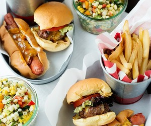 food, burger, and hot dog image