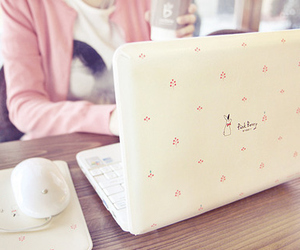 cute, laptop, and pink image