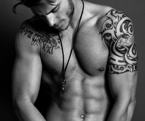 black and white, Tattoos, and sexy man image
