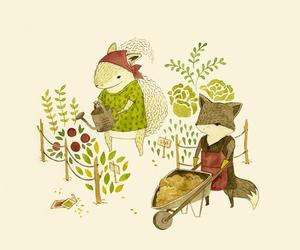 fox, garden, and cute image