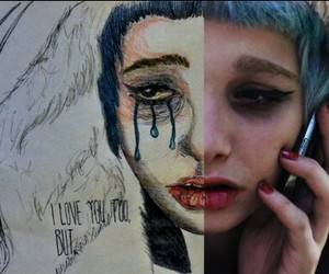 beautiful, cry, and girl image