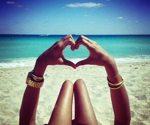 beach, water, and heart image