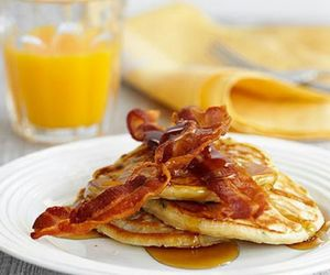 bacon, pancakes, and breakfast image
