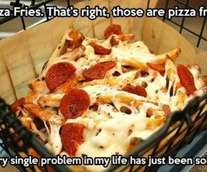 pizza, fries, and food image