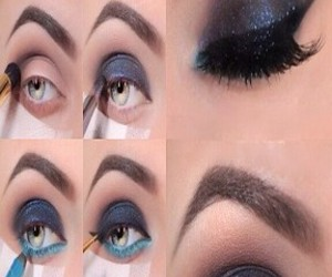 black, makeup step by step, and blue image