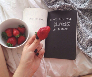 book, strawberry, and food image