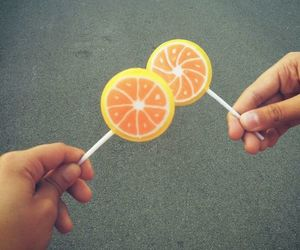 lollypop, orange, and friends image