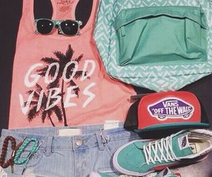 sneakers, tank top, and van shoes image